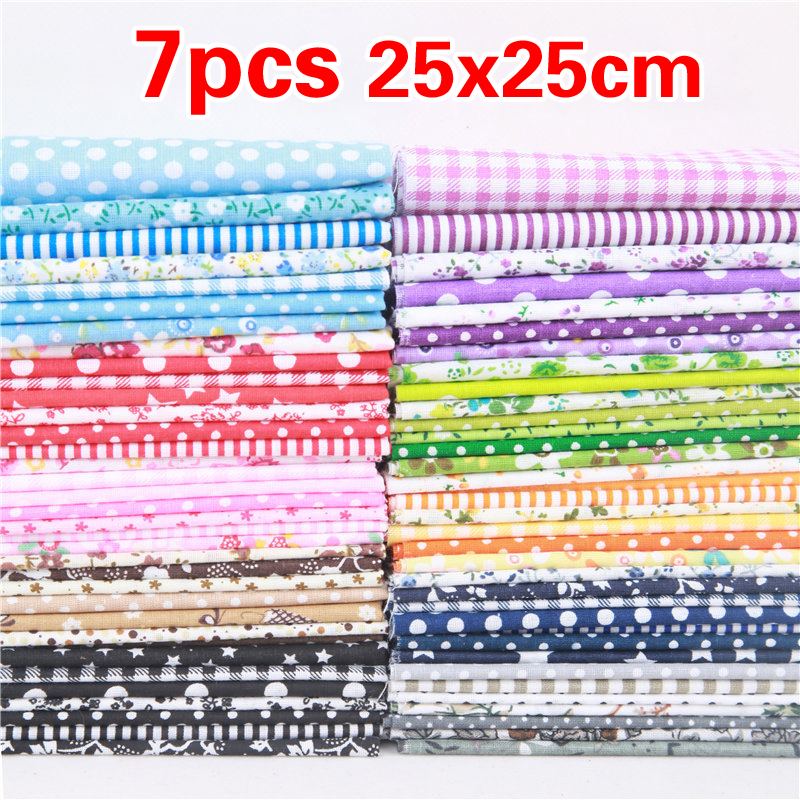 7pcs/set 25*25cm Square Patchwork Needlework DIY Handmade Sewing Mixed Style Floral Print 100% Cotton Fabric Cloth Material