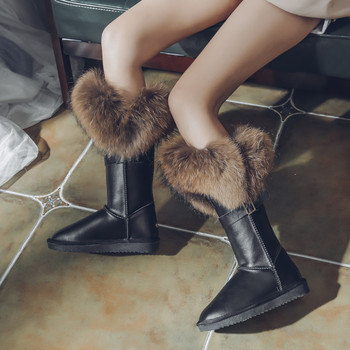 G&Zaco Natural Fox Fur Snow Boots Women Genuine Cow Suede Leather Boots Winter Black Mid-calf Knee Boots Raccoon Warm Flat Boots