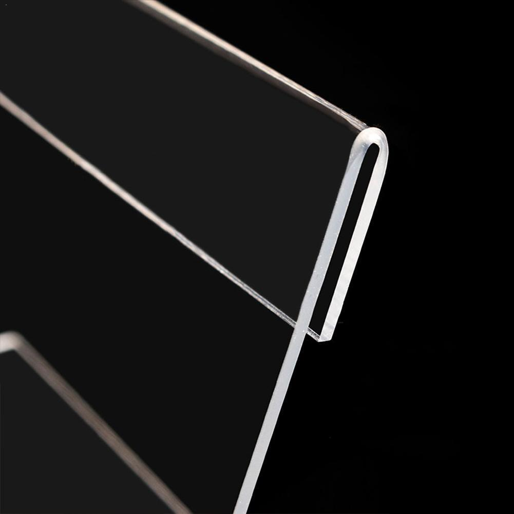 1PC 1.3mm Acrylic Clear Plastic Desk Sign Label Frame Acrylic Display Price Stand Holder Label Holders Tag Card Paper Frame Z1W6