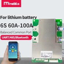 BMS Bluetooth 6S 24V, port commun avec onduleur équilibré, carte de protection intelligente pour batterie au lithium 100a