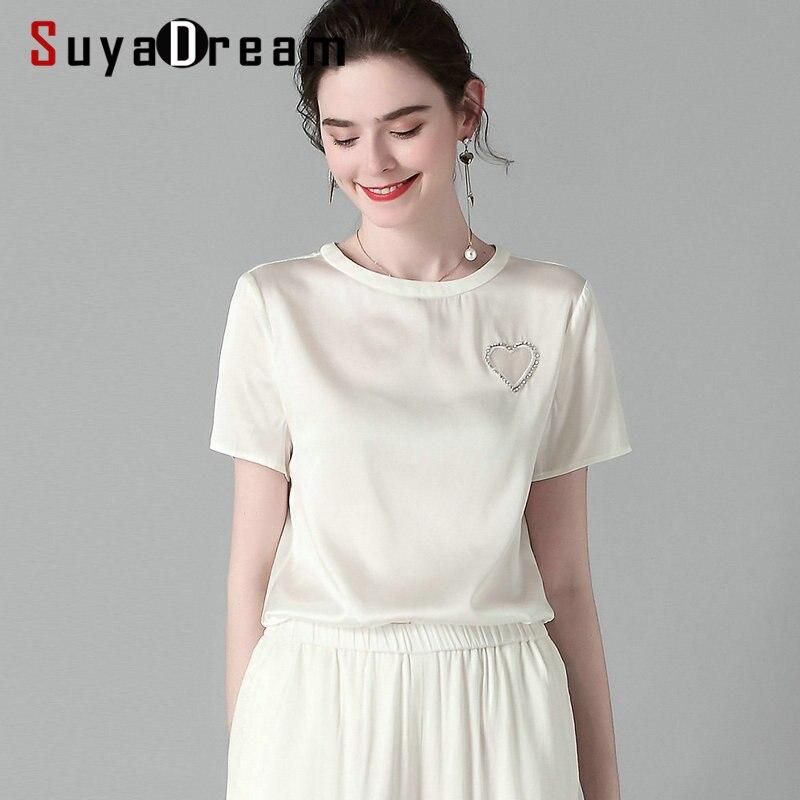 SuyaDream женская футболка с коротким рукавом, 2020, весенне летняя повседневная рубашка из 100% шелка с бусинами