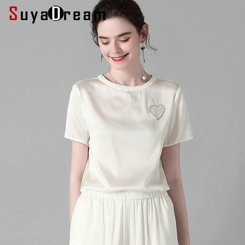 SuyaDream Women Solid Short Sleeved T Shirt 2020 Spring Summer Beading Casual Shirt Elegant 100%Silk Top