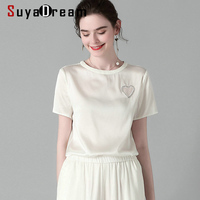 SuyaDream Women Solid Short Sleeved T shirt 2020 Spring Summer Beading Casual Shirt Elegant 100%Silk Top