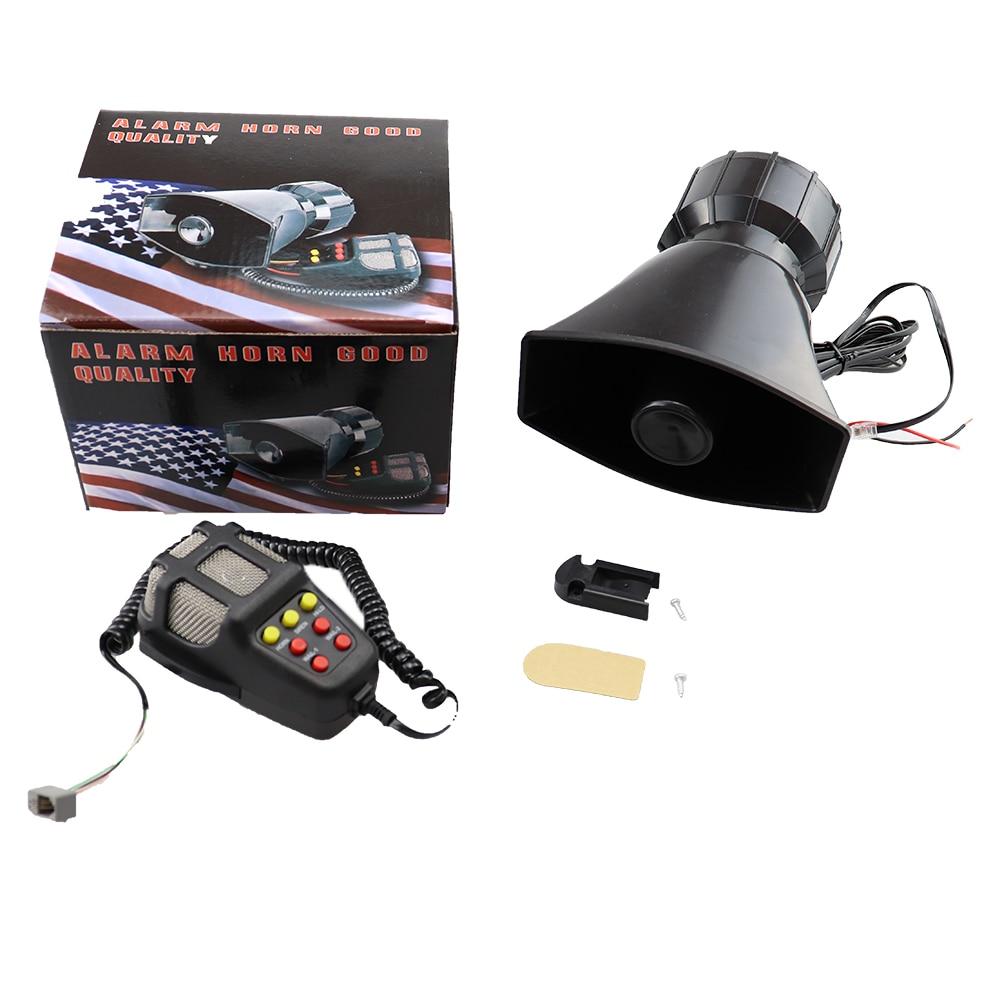 Car Horn with MIC Loud Motorcycle Siren Vehicle Truck Warning Alarm Loudspeaker Plastic Police Firemen 5 Sound DC 12V 100W(China)
