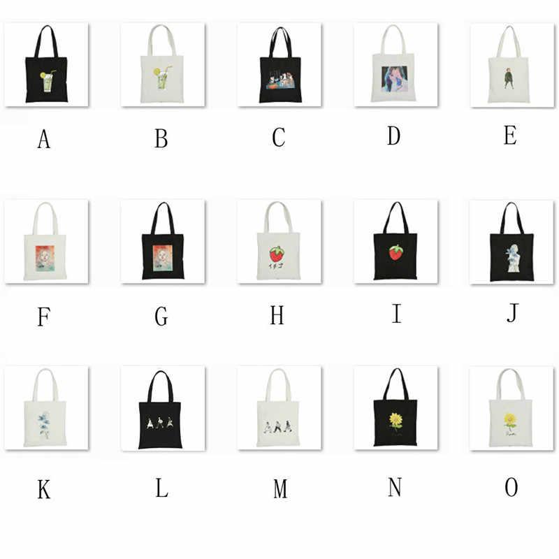 15 סגנון לשימוש חוזר קניות תיק אופנה נשים בד בד הדפסת אקו Tote שקיות קריקטורה Shopper גדול קיבולת כתף שקיות #40