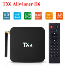 TX6 Android Smart TV Box Android 9.0 Allwinner H6 4GB 64GB 32GB 4K 2.4G/ 5G Hz Dual WIFI IPTV Google Pemain YouTube Top Box(China)