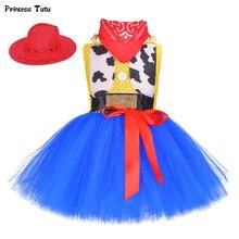 Toy Woody Jessie, Ковбойское платье-пачка для девочек с шапочкой и шарфом, комплект одежды модный тюль, праздничное платье для девочек на день рождения детский костюм на Хэллоуин