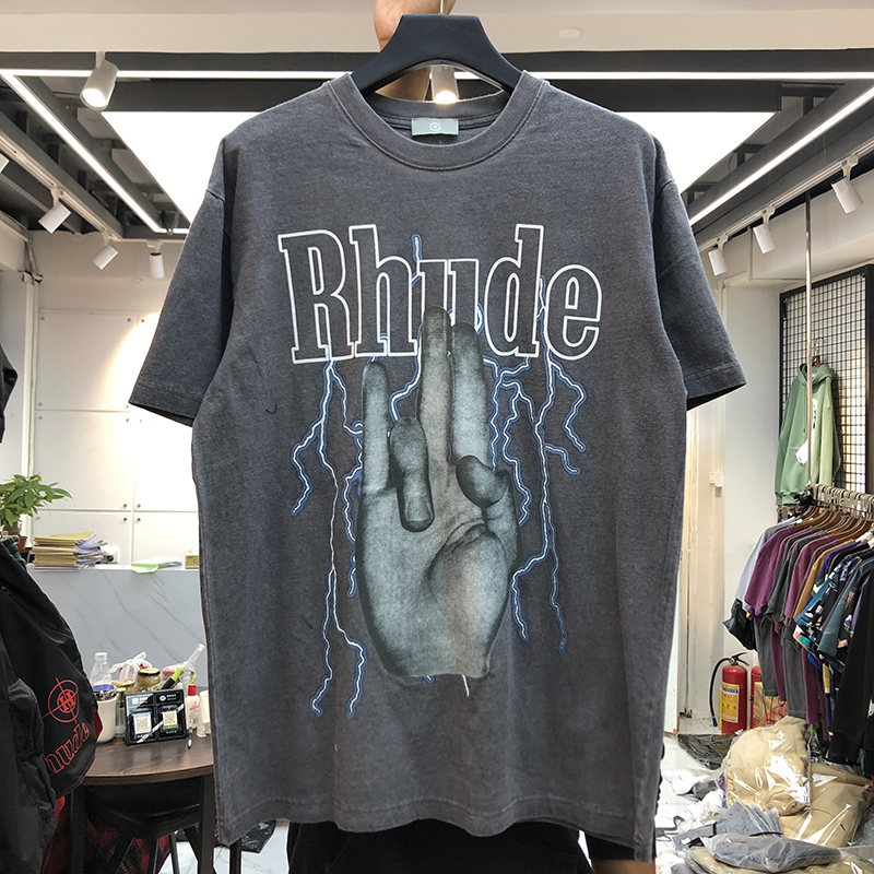 2020 Rhude T-shirt New Men Women Casual Rhude T-shirts Vintage Gesture Lightning Logo Print Top Tee