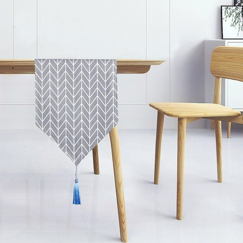 Withme Table Runner Nordic Style Linen Geometric Arrow Table Runners With Tassel Wedding Decoration Tablecloths Party Supplies