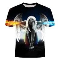 Angel Big yards, новая модная брендовая футболка с черепами для мужчин/женщин, летняя футболка с 3d волком, футболка с принтом кота, футболки, Азиатс...