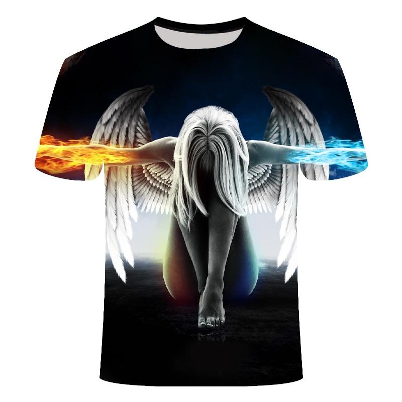 Angel Big Yards New Fashion Skulls Brand T-shirt Men/Women Summer 3d Wolf Tshirt Print Cat T Shirt Tops Tees Asian Size S-6XL