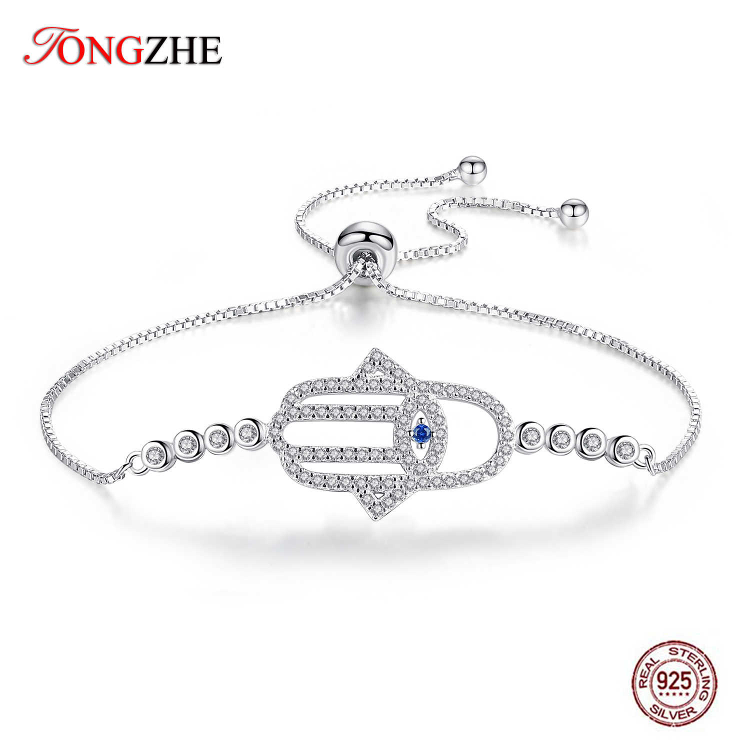 TONGZHE 925 Sterling Silver Evil Eye Bracelet Hamsa Hand Fatima Charm Bracelets for Women Gifts For Mens Turkish Jewelry 2019