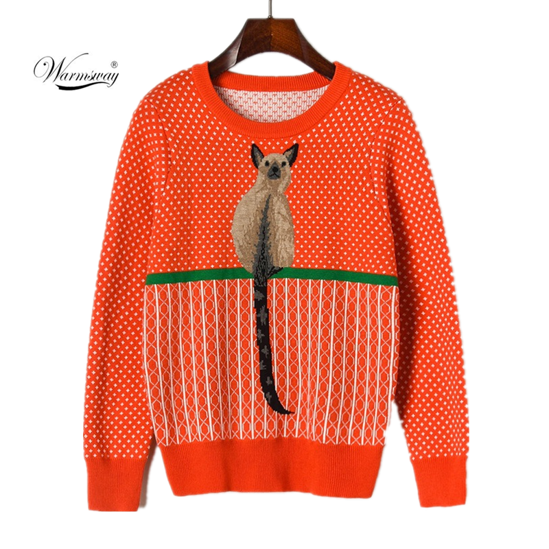 Winter Women Cartoon Squirrel Jacquard Embroidery Orange Knitted Pullover 2020 Loose O-neck Long-Sleeved Top Sweater CY-056