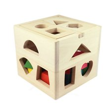 цены 13 Holes Intelligence Box Wooden Shape Sorter toy Baby Cognitive Matching Building Blocks Kids Children Early Education Toys