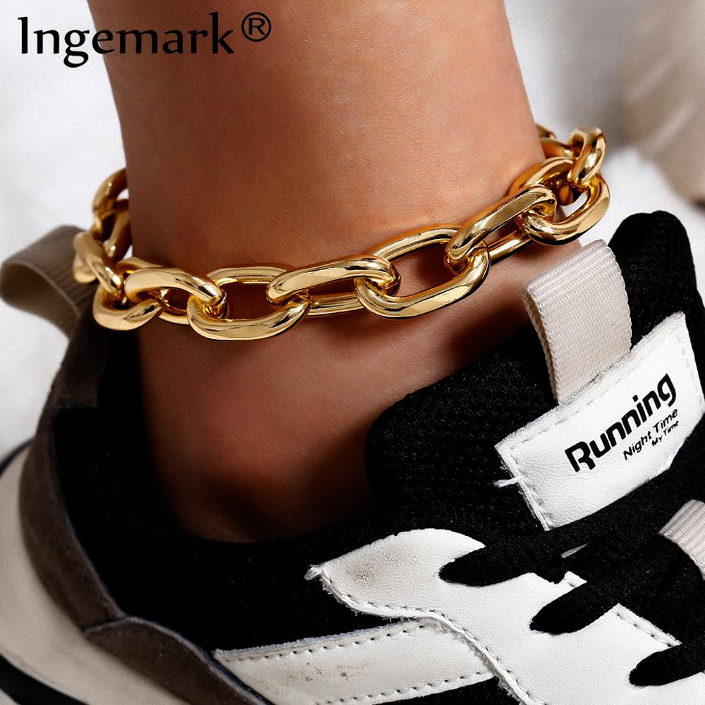 Vintage Cuba Link Chain Anklets for Women Men Shoe Ankle Summer Beach Punk Boho Barefoot Sandals on the leg Female Foot Jewelry image
