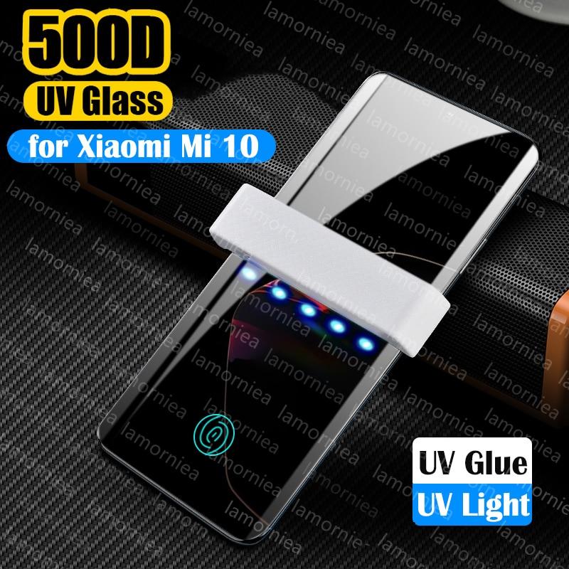 Lamorniea For Xiaomi Mi 10 Uv Liquid Glue Glass Film For Mi 10 Cc9 Note 10 Pro Huawei P30 Pro UV Full Glue Tempered Glass Films