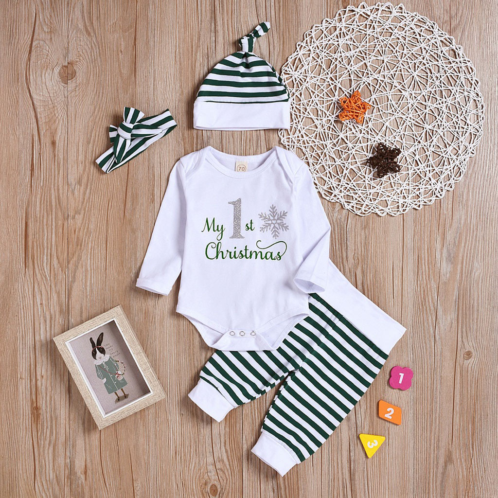 3PCS Christmas Set Newborn Baby Boy Girl Long Sleeve O-neck Letter Printed Tops Cartoon Pants + Hat Clothes Outfits Clothes A1