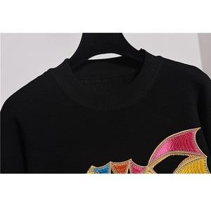 Image 4 - Jersey de manga larga con lentejuelas para mujer, traje de dos piezas, chándal de punto