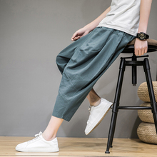 2021 Summer Large Size Trousers Men's Linen Pants Solid Loose Cropped Chinese Style Cotton Linen Casual Harem Pants For Mens