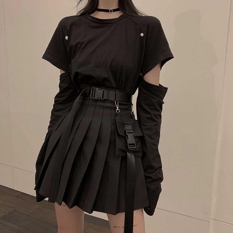 Nicemix Đen Bộ Chữ A Nữ Gợi Cảm Mini Cao Cấp Váy Dạo Phố Nữ Phong Cách Punk Bên Túi Thời Trang Thiết Kế Váy Xếp Ly