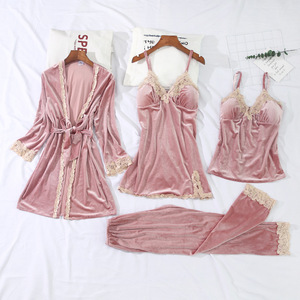 Image 1 - 2019 Winter Women Pajamas Sets With Chest Pads Gold Velvet 4 Pieces Sexy Lace Pijama Sleepwear Sleeveless Nightwear Pyjama