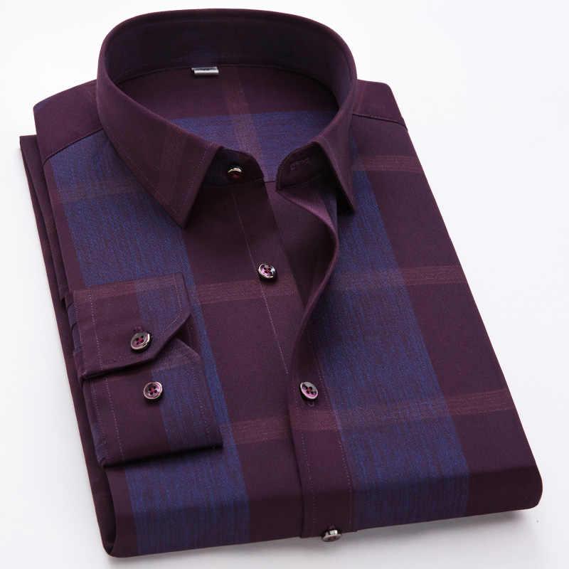 Camisas masculinas casuais de manga longa, camisas 100% de algodão, confortáveis, formal, grande, xadrez, bronzeadora