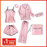 Pijamas de seda para mulher 7 peças pijamas de inverno sexy pijamas feminino macio doce bonito pijamas pijamas conjunto