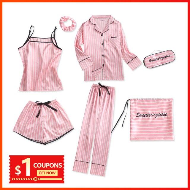 Bộ Đồ Ngủ Nữ Bộ Đồ Ngủ Lụa Nữ 7 Món Đồ Ngủ Mùa Đông Gợi Cảm Pijamas Nữ Mềm Ngọt Dễ Thương VÁY NGỦ Pyjama Set