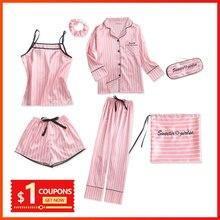 Pyjama Femme hiver rayé rose soie pyjama Satin Femme pyjama 7 pièces pijamas women hiver Printemps ensemble soie élégant 2019 sommeil costumes doux pijamas women vêtements de nuit