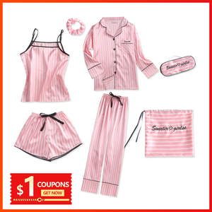 Image 1 - Vrouwen pyjama zijden pyjama voor vrouwen 7 Stuks nachtkleding Winter Sexy pijamas vrouwen Zachte Zoete Leuke Nachtkleding pyjama set