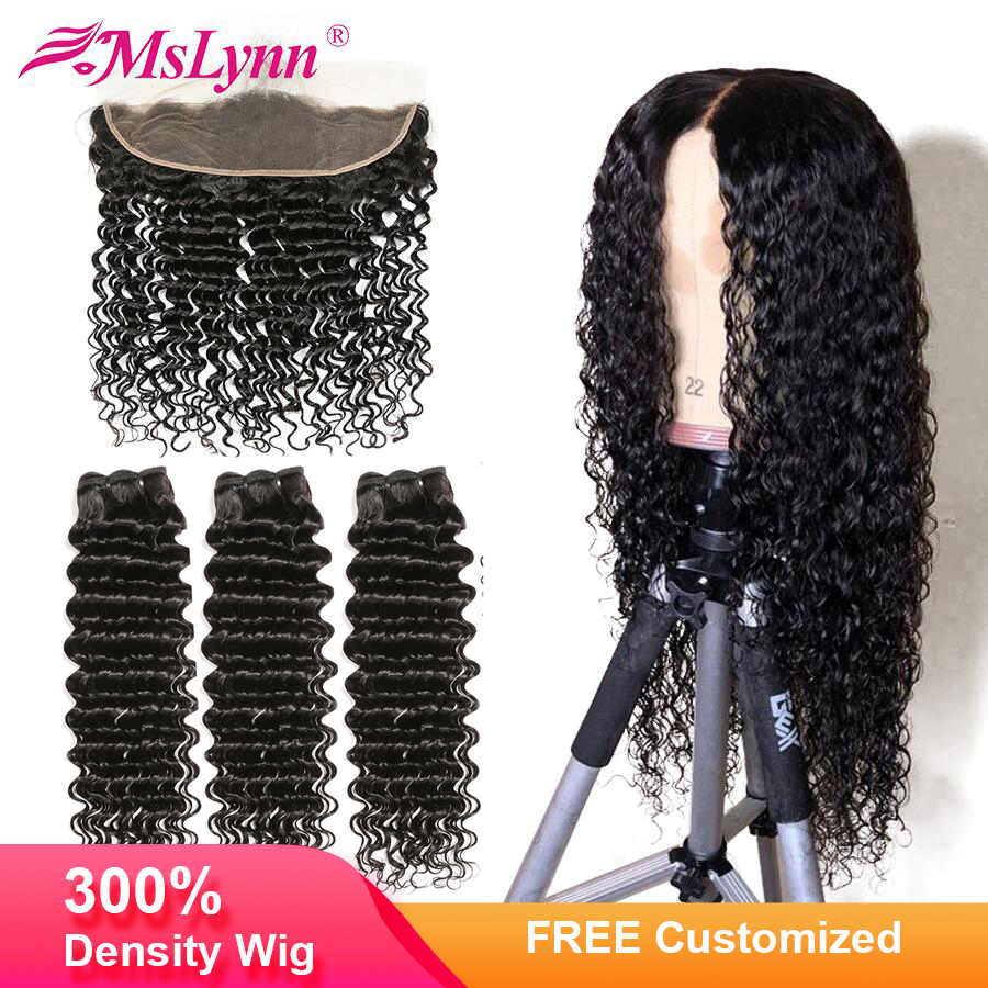 4x13 Lace Frontal Human Hair Wig Deep Wave Bundles With Frontal Closure Free Customized Into Wig Brazilian Wigs Mslynn Remy Hair