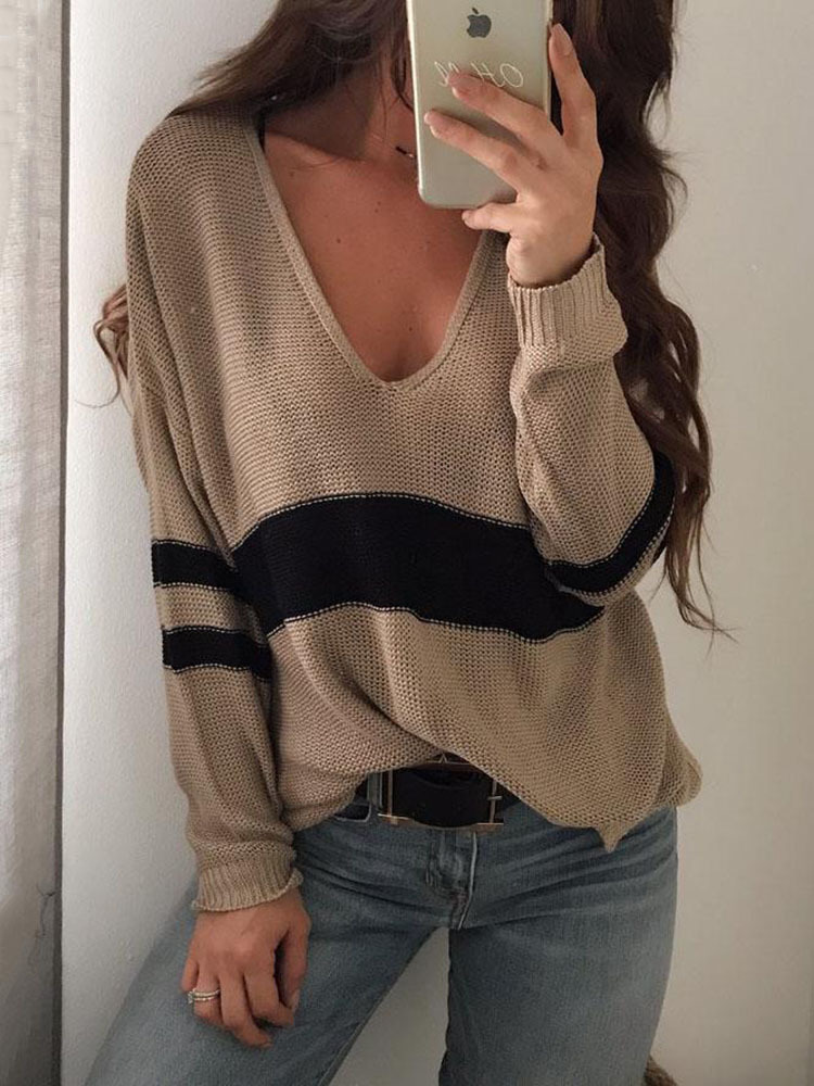 Womens Sweaters 2019 Winter Clothes Women V-neck Split Stripe Knit Oversized Sweater Christmas Jumper