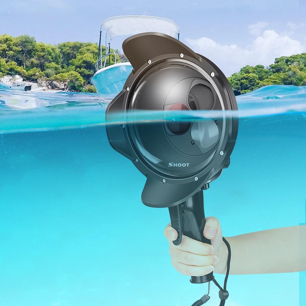 Tüketici Elektroniği'ten Spor Kamera Kılıfları'de Dalış Dome Port su geçirmez kılıf filtresi değiştirilebilir kubbe GoPro Hero 7 6 5 tetik kırmızı filtre yuvası gitmek için Pro 7 aksesuar title=