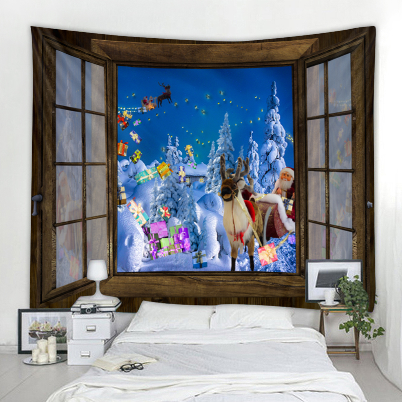 Christmas carnival outside the window, Christmas tree artist home wall hanging tapestry Christmas wall decoration high quality t|Tapestry|   - AliExpress