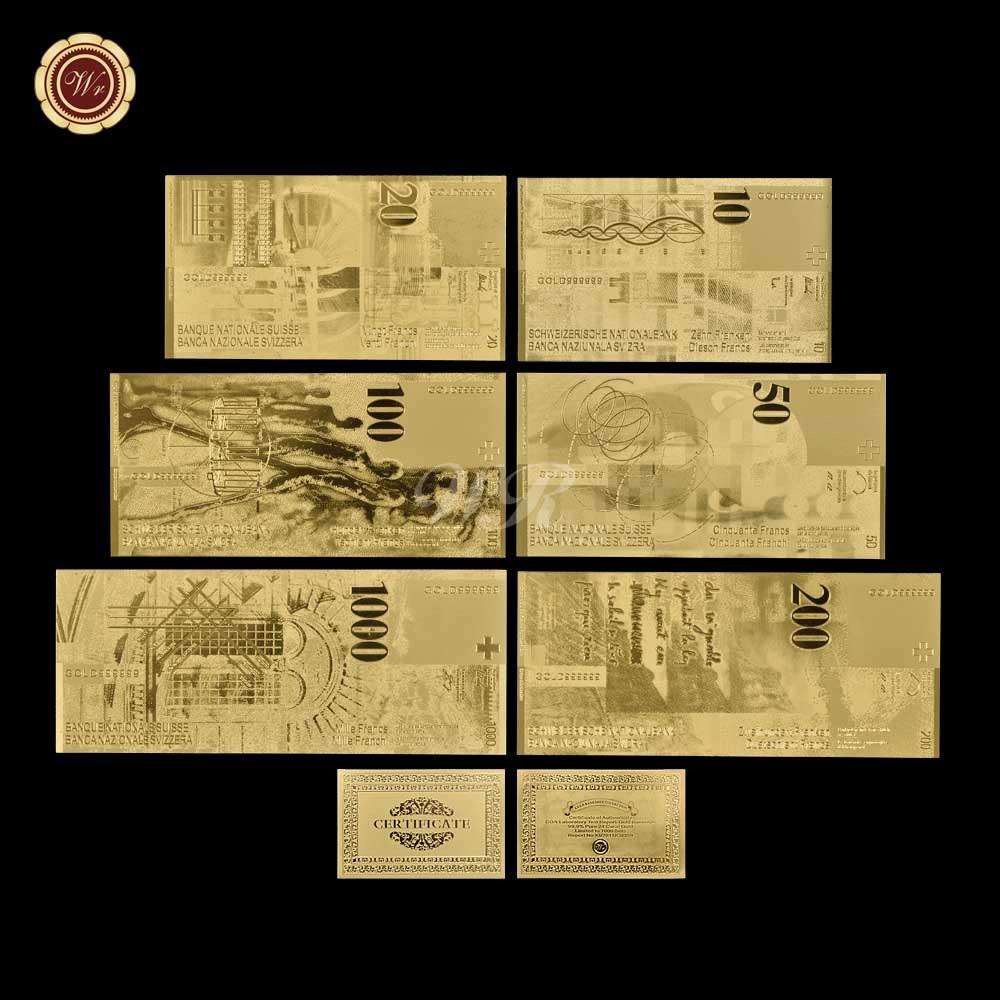 WR 6 pçs/lote Suíça Notas Da Folha de Ouro com Moldura de Prata Contas Coleção de Notas de Dinheiro Falso Certificado de Presente Dropshipping