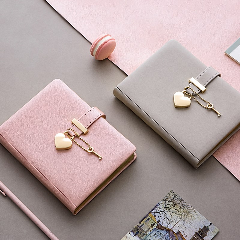 Name Customize Cute B6 Diary With Heart Lock PU Leather Notebook School Supplies Lockable Password Writing Pads Girl Women Gift