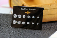 1 Pair Fashion Women Girl Silver Zircon Crystal Rhinestone Ear Stud Earrings Shiny Simple Party Earring Jewelry 6 size wholesale(China)