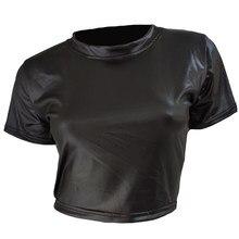Nouveau T-Shirt en polyuréthane Sexy fausse plume à manches courtes hauts et t-shirts mode en gros haut décontracté col rond couleur unie Club fête T-Shirt