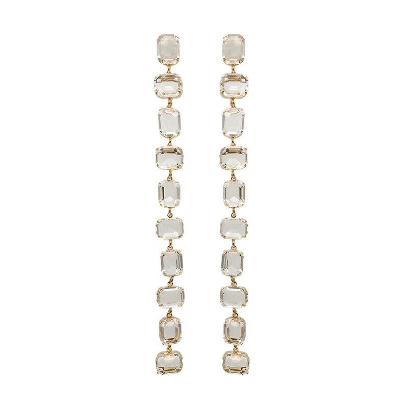 2020 Chic Luxury Clear Crystal Long Tassel Drop Dangle Earrings Fashion Women Party Wedding Dangle Earrings Jewelry