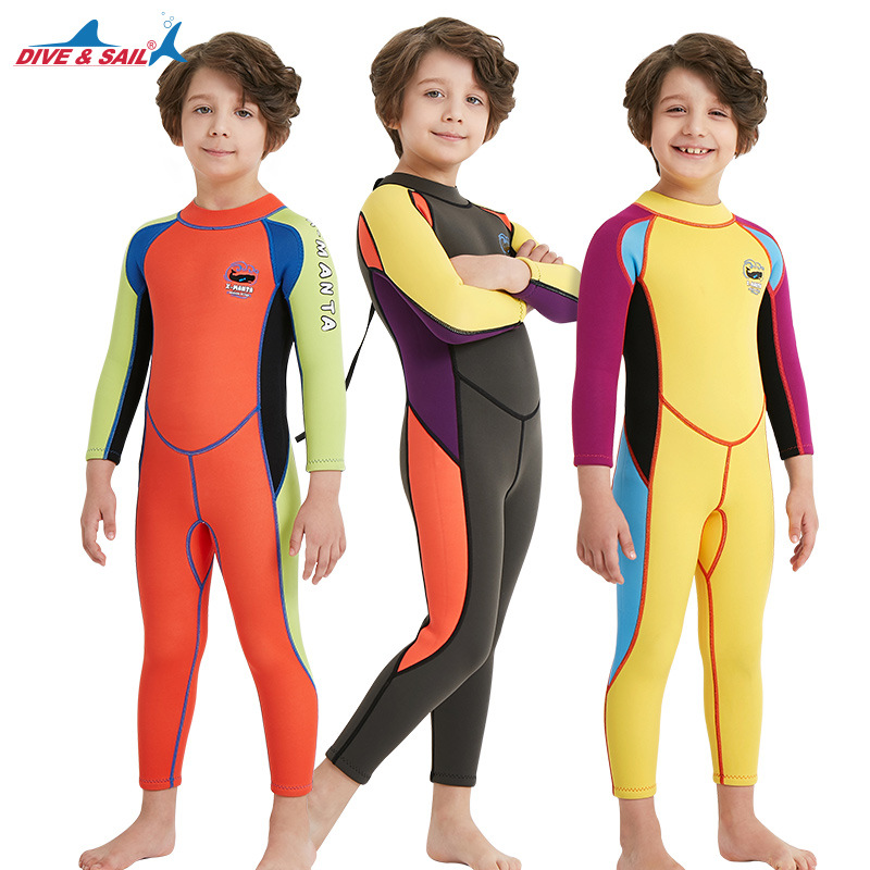 Dive&sail One Piece Kids 2.5mm Wetsuit Long Sleeve Swim Skin Suit Dive Diving Swimming Suit for Boys Girls Swimsuit Swimwear