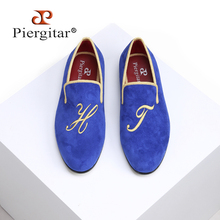 Suede Loafers Piergitar Royal-Blue-Color Men's Letter with Embroidery Handmade Smoking-Slippers