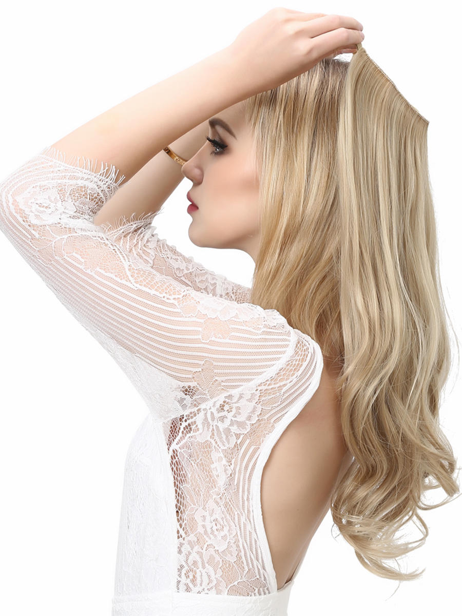 SARLA Halo Hair Extensions No Clip In Synthetic Artificial Fake Natural Ombre Blonde