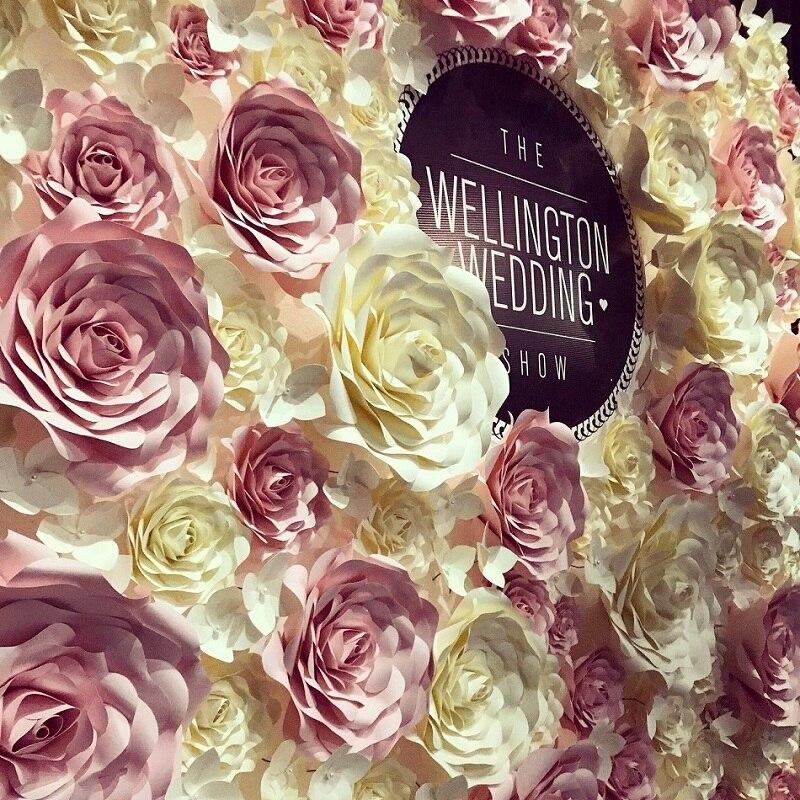 Flores de papel gigantes grandes rosas Boda flores pared fondos decoración cuarto de niños pared decoración flor artificial Mariage Boda Rosa Flore