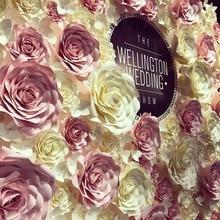 Купить с кэшбэком Giant Paper Flowers Large Rose Wedding Flower Wall Backdrops Decor Nursery Wall Decor Fleur Artificielle Mariage Boda Rosa Flore