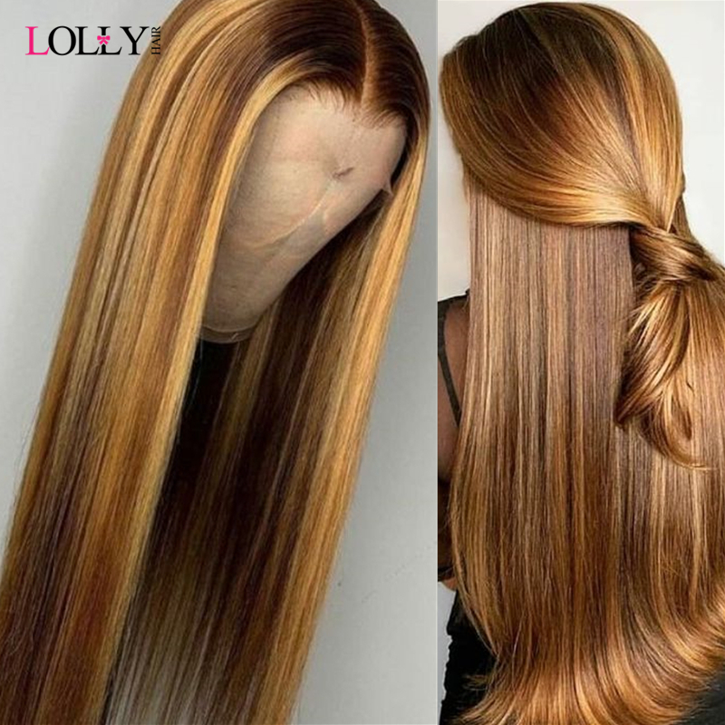 Honey Blonde Highlight Brown Ombre Hair Wig 13X4 13X6 Brazilian Straight Lace Front Human Hair Wigs Pre-Plucked With Baby Hair