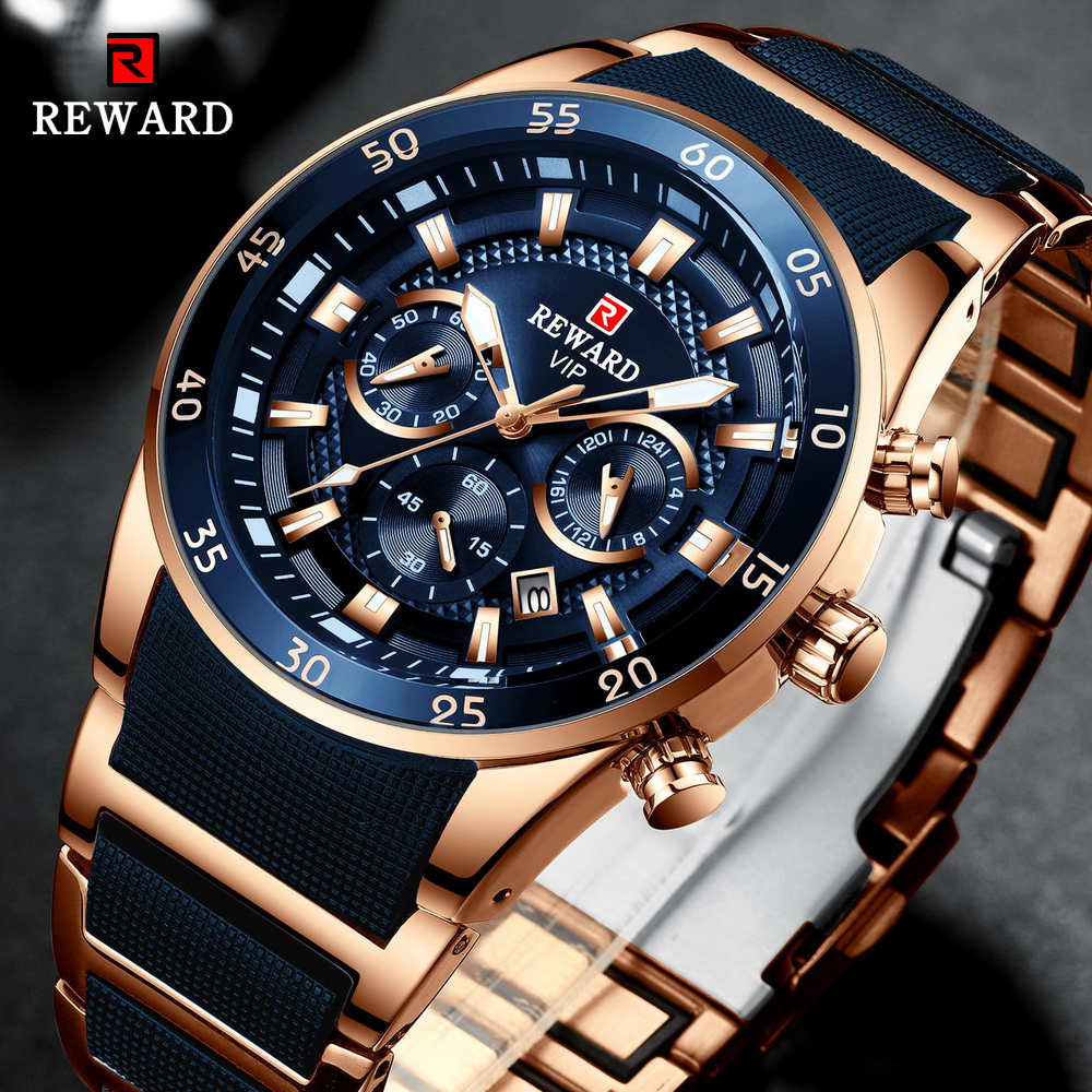REWARD Brand Mens Watches Luxury Quartz Blue Watch Full Steel Men Chronograph Waterproof Business Wrist Watch Relogio Masculino|Quartz Watches| |  - title=