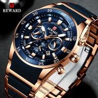 Recompensa marca dos homens relógios de luxo quartzo azul relógio de aço completo cronógrafo à prova dwaterproof água relógio de pulso de negócios relogio masculino|Relógios de quartzo| |  -