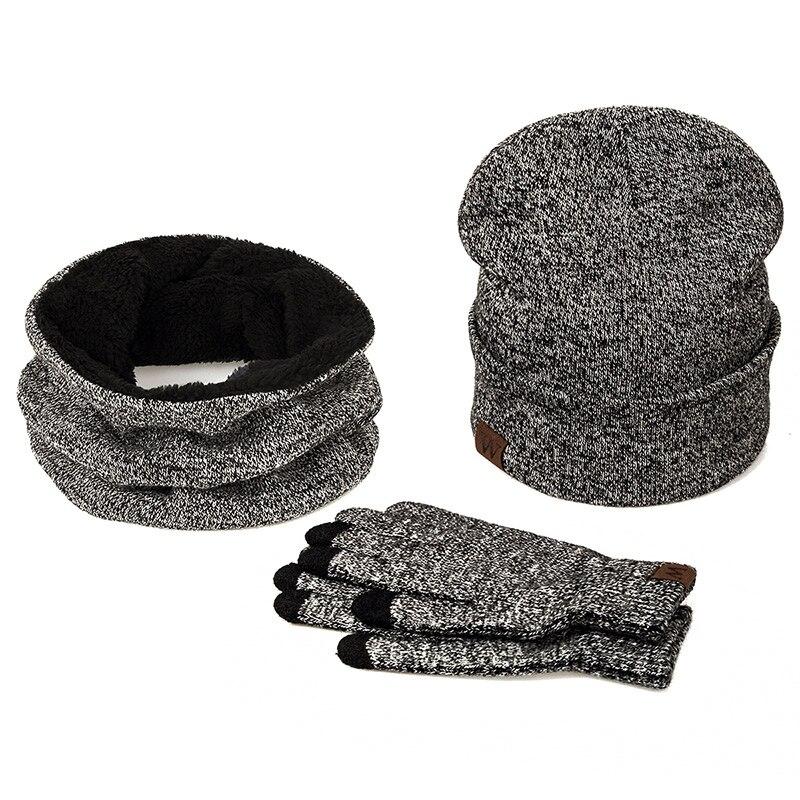 YEABIU, зимняя женская шапка, шарф, перчатки, набор, теплые, для девушек, Skullies Beanies, шапка, Infinity, для мужчин, шапка с сенсорным экраном, перчатки, набор для женщин - Цвет: middle grey
