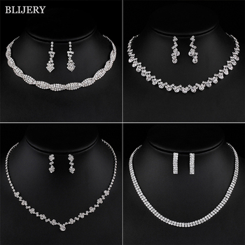 BLIJERY Silver Plated Crystal Bridesmaid Bridal Jewelry Sets Geometric Choker Necklace Earrings for Women Wedding Jewelry Sets 1