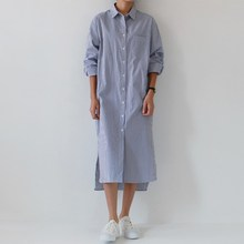 2019 Women Long Sleeve Fall Dress Korean Fashion Turn-Down Collar Shirt Dress Pocket Side Slit Midi Striped Dress pocket side dress